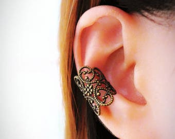 Bohemian Ear Cuff No Piercing, Lace Ear Cuff Non Pierced, Filigree Ear Cuff Wrap, Fake Piercing, Black Cartilage Earring Hoop Gothic Jewelry