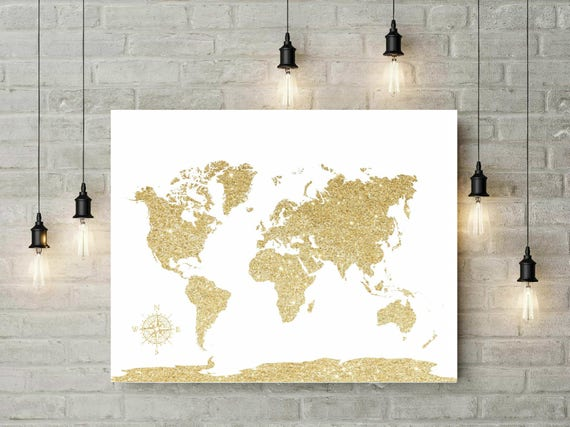 Glitter Gold World Map Canvas, Travel World Map, Gift For Travels, Christmas Gift, Wedding World Map Guest Book, Gift For Best Friend -54577