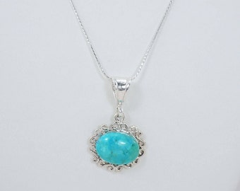 Turquoise Necklace, Pendant Necklace, Genuine Turquoise, Kingman Turquoise, Kingman Arizona, Sterling Silver, 18 Inch