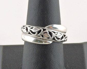 Size 8.5 Sterling Silver Filigree Leaf Ring