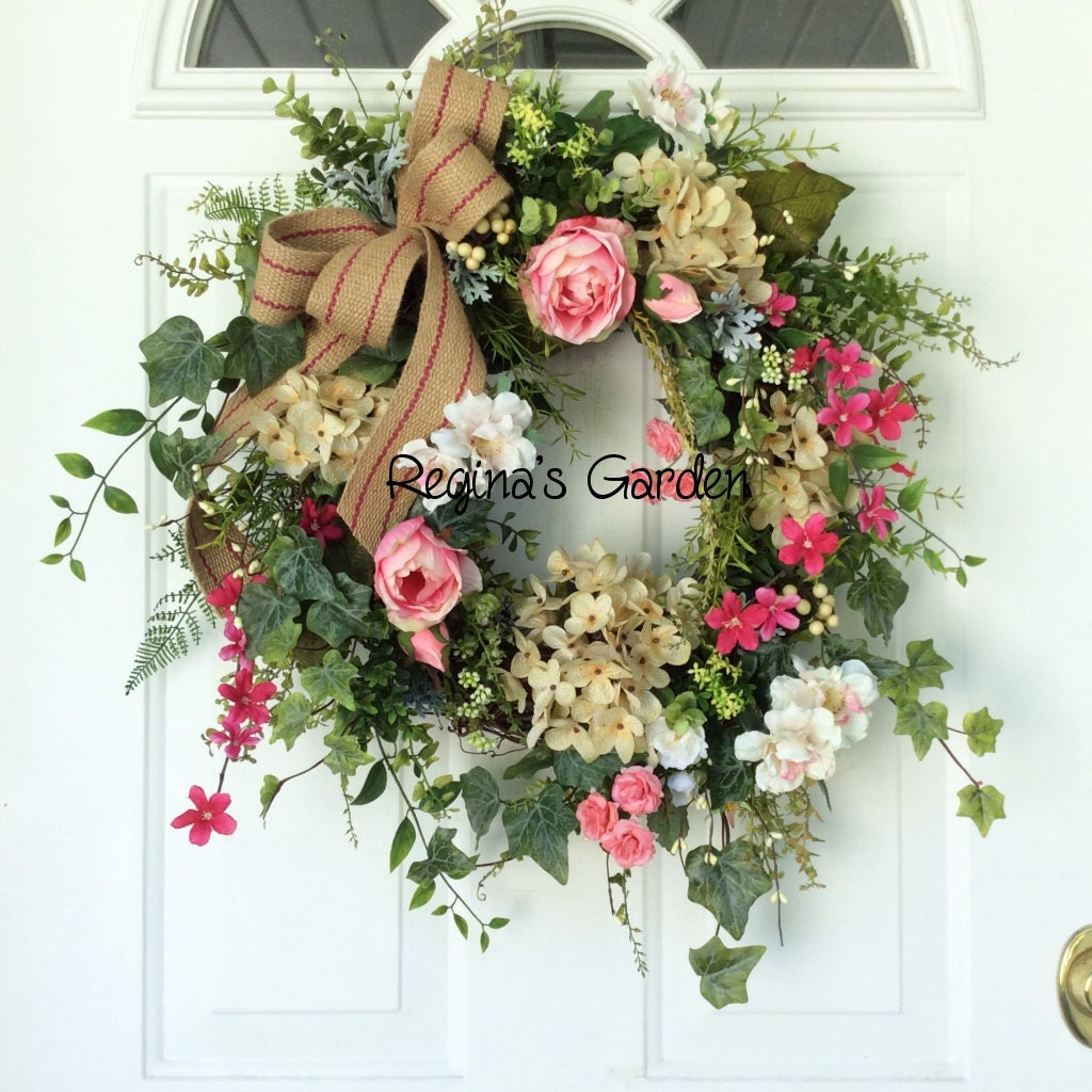 Summer door wreath hydrangea wreath french country for Country chic christmas