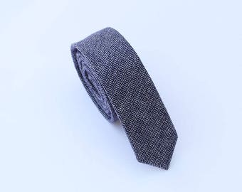 Blue Wool Tie.Blue Herringbone Wool Tie.Mens Blue Skinny Tie. Blue Tie for Wedding.Gift.Prom.