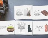 hocus pocus greeting card set (FIVE) // fall greeting card// happy halloween card// greeting card friend // greeting card set
