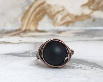 Black Onyx Ring | Wire Wrap Ring | Copper Rings | Statement Rings | Minimalist Rings | Size O | Stacking Rings | Womens Rings | Boho RIngs