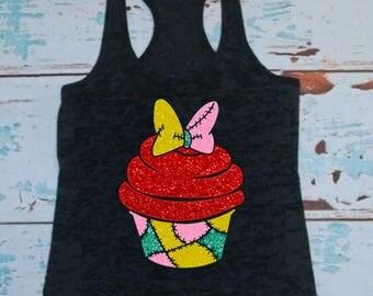 Sally Cupcake, Tank Top or T-shirt, Nightmare Before Christmas, TNBC, Jack and Sally, Glitter, Glittery, Bow, Minnie, Disney, Halloween
