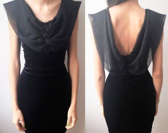 BLACK ROSE DRESS -draped, cowl neckline, 90s, prom, party, velvet, 80s, gothic, floral, sexy, back, cocktail, transparent, bodycon-