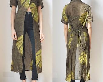 SUMMER SHIRT -duster, 90s, floral, robe, kimono, festival, boho, dress, short sleeve, transparent, hippie, maxi, longline, oversized-