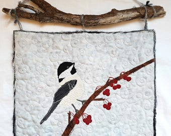 Chickadee on a High Bush Cranberry in Winter Art Quilt / Bird Wall Art / Chickadee Art / Quilted Fabric Art / Quilted wall Hanging / Textile