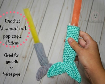 PATTERN ONLY, Mermaid Popsicle Holders, Crochet Popsicle holder, Ice Pop Cover, Freezer Pop Cover, Popsicle Wrap, Birthday Party Favor