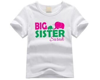Personalized big sister shirt. Big sister elephant theme. Elephant big sister shirt. Big sister announcement. Elephant big sister tee.