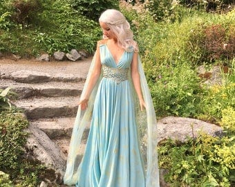 Game of Thrones Costume - Daenerys Qarth Dress - Blue with Belt and Cape - Khaleesi Gown Cosplay