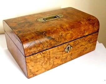 Antique Walnut Domed Jewellery or Trinket Box