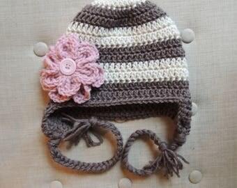 Crochet Flower Hat, LuvBeanies, Girl Flower hat, Crochet hats for kids, Children hats, Baby girl hat, Photo prop, Crochet hats for babies