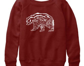 Kodiak Salmon Bear Wanderlust Womens slouchy sweatshirts All sizes available in 4 colors