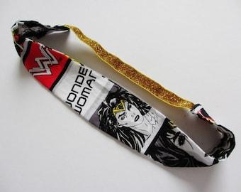 Wonder Woman Gal Gadot Print Gold Glitter Elastic Headband