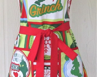 Christmas Apron, How the Grinch Stole Christmas, Retro Full Apron, Women's Apron, KitschNStyle