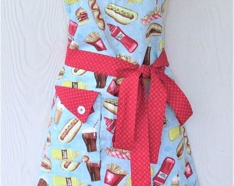 Retro Diner Apron, Fifties Burger Shop, Vintage 50's Style, Full Apron, KitschNStyle