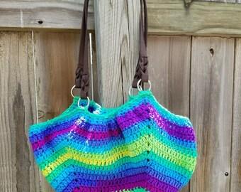 Bright Stripes Fat-Bottom Purse Beach Bag