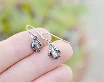 Tiny Sterling Silver Frog Earrings, Small Sterling Frog Earrings, Sterling Silver Frog Dangle Earrings, Frog Jewelry, Animal Earrings