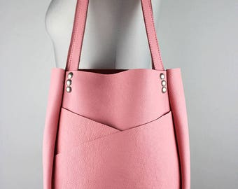 Pink Leather Shoulder Bag/Bubble Gum Pink Leather Tote Bag/Large Leather Carry All with Exterior Pockets – SMaroPink