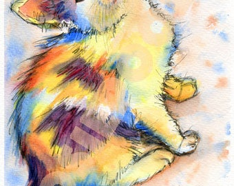 CAT POSTER Picture Cats Kitten of Original Watercolour Painting Watercolor Chat Katze Painting Picture Art Artwork by Josie P.