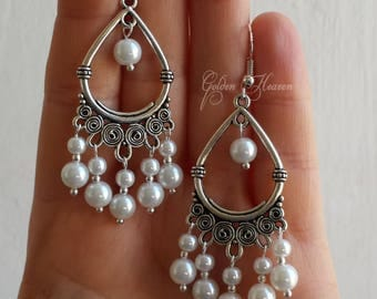 Long white earrings   Etsy