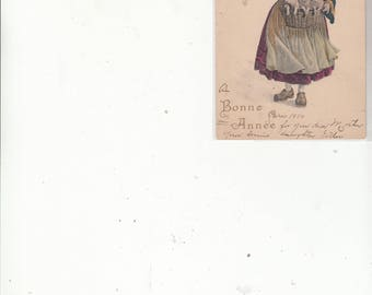 Vienne Style Undivided Back Antique Postcard Young French Girl With Piglets In Basket