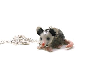 Possum Necklace, Marsupial Necklace, Opossum Charm Jewelry, Possum Jewelry, Baby Possum, Wildlife Necklace, Possum Pendant, Rodent Necklace