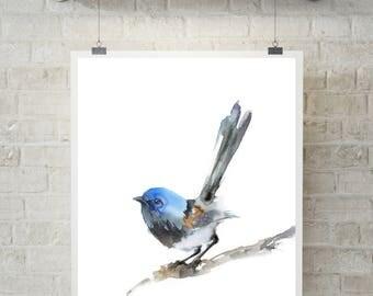 Minimalist wren bird art print, bird watercolor painting print, bird art, bird print, watercolor print, minimalist bird wall art print