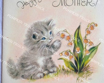 Vintage Greeting Card - Happy Easter Kitten to Mother - Used Marjorie Cooper