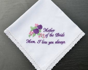 Mother of the bride handkerchief gift for mother of the bride wedding handkerchief for mom Gift|for|her|Wedding|gift|for mom from daughter