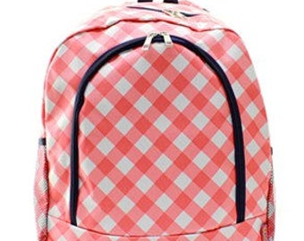 Gingham Checkered Print Monogrammed School Backpack Coral and White with Navy Trim
