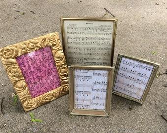 Vintage Gold metal picture frames set of 4, Rustic wedding table decor, menu display, 8 x 10, 5 x 7, Floral Rose frame, instant collection