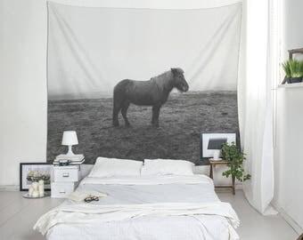 Horse Photo Wall Tapestry, Horse Wall Art, Scandinavian Decor, Wall Decorations, Nordic Decor House, Icelandic Horse Art