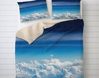 Over the Clouds Bedding Set, Cloud Duvet Cover, Blue Duvet Cover, Unique Duvet Covers, Comforter Cover Queen, Cool Bedding