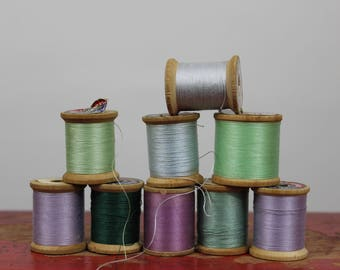 Vintage Shiny Thread in Greens and Violets Wooden Spools of Thread Coats & Clark's Mercerized Sewing O.N.T Our New Thread Boilfast