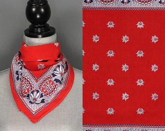 Vintage Fast Color Bandana - 40s 50s Flower Print Cotton Fast Color Bandana - 1940s 1950s Floral Red White Blue Bandana - Handkerchief