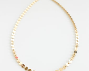 Sequin Choker - 14k Gold Filled Necklace - Custom Length - Layering Necklace - Gift For Her - Disc Chain - Simple Necklace - Chain Necklace