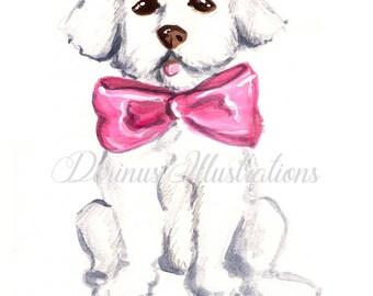 Bichon art, Dog art, Dog portrait,Bichon havenese art, Dog print, Havanese art, Havanese print, Dog lover art, Dog lover gift, Dog wall art