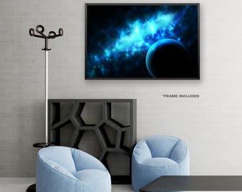 Framed Blue Space Poster Art, Framed Universe Art Poster