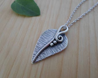 Sterling silver leaf necklace, nature jewelry, silver leaf pendant, woodland jewelry, leaf charm necklace, silver leaf jewelry