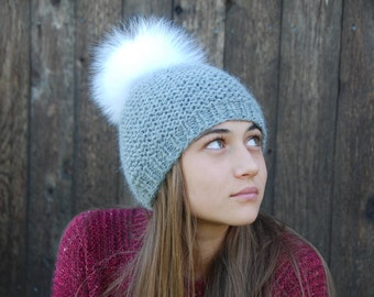 Luxury Baby Alpaca Hat with real fox pom-pom Beanie Women Hat Winter Chunky Hand Knit Alpaca gray pom beanie,  wool hat, made to order
