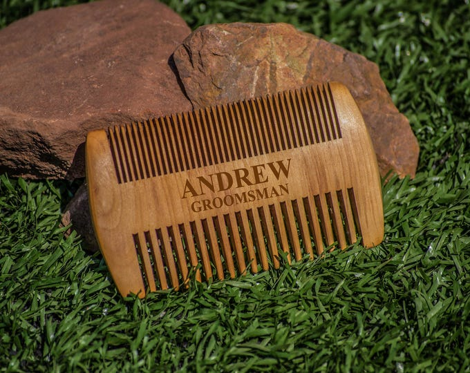 Wood Beard Comb, Personalized Engraved Combs, Beard Brush, Custom Beard Comb, Wooden Brush for Men, Barber Combing Brush, 2 sided grooming