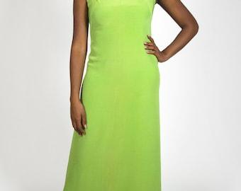 Vintage Maxi Dress Sleeveless Sheath V-Neck Bright Green Spring Summer Retro Women's Size Large