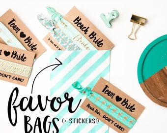 Stripe Favor Bags | Gift Packaging for Hair Tie Favors, Wedding Bridal Shower Favors, Birthday Party Small Gift Bags, Bridesmaid Gift Bags