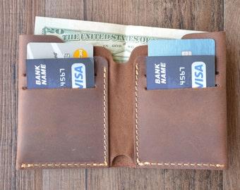 Personalized Bifold Leather Wallet, Men's Wallet, Minimalist Leather Wallet, Slim Leather Wallet, Distressed Leather Wallet, Groomsmen Gift
