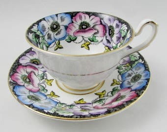 Vintage Tea Cup and Saucer, Black with Flowers by Taylor and Kent
