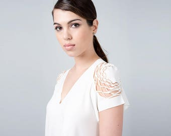 Wedding Top, Elegant Blouse, Sleeveless Blouse, Ladies Blouse, Cream Shirt, Cream Top, Special Shirt, Cut Out Shirt, Formal Blouse, Cream