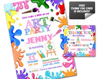 Colorful Art Party Birthday Custom Printable Invitation with FREE Thank you Matching Tag-DIY Digital File