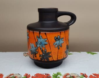 Fat Lava Vase by Carstens, West German Vase with Handle, 1531-, Blue Flowers on Orange Background, West Germany Pottery